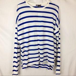 VINCE Soft High-Low Hem Stripe Shirt